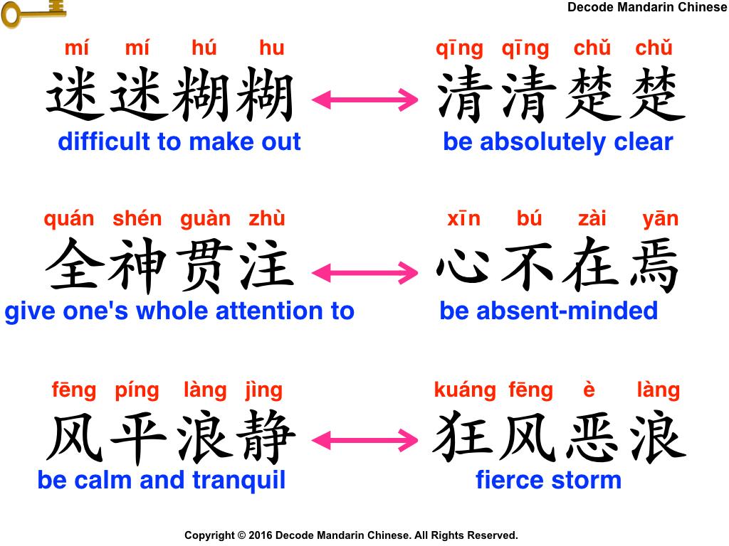 Antonyms of set phrases